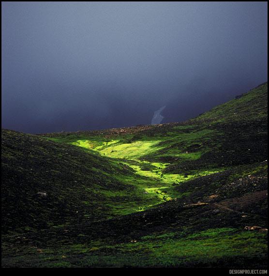 Среди серого вулканического пейзажа местный мох выглядит как утечка кислоты. Издалека не верится, что это «нечто» – органическое.
