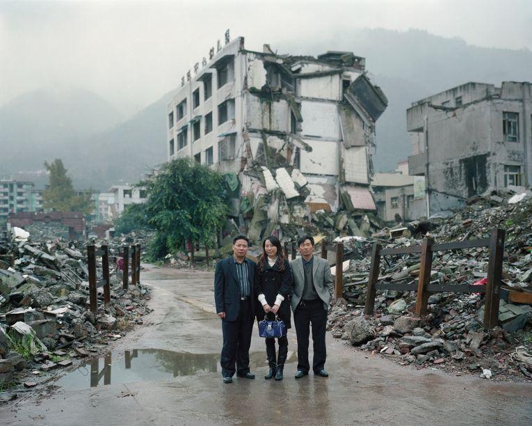 Места, разрушенные землетрясением.