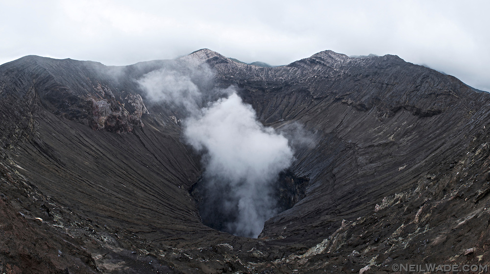 Looking into the active volcanic crater of Mt Bromo.