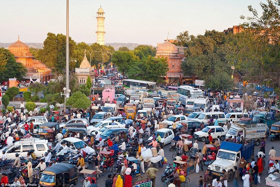 Джайпур, Индия. Обычная пробка на дороге