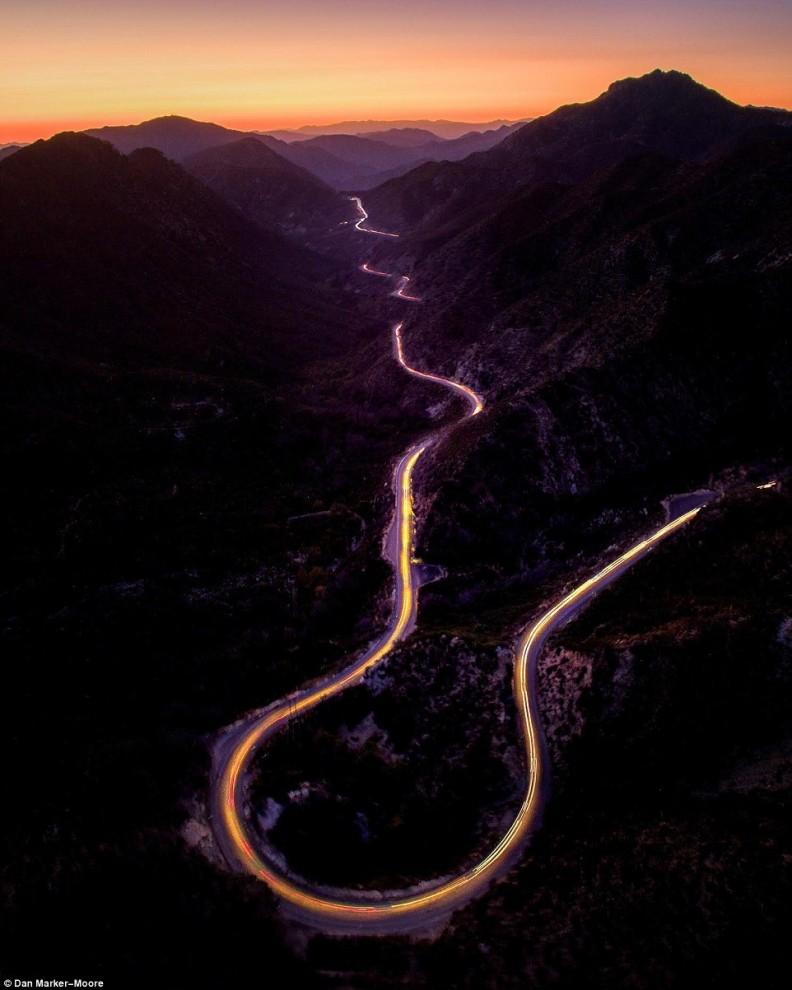 Закат в горах Сан-Габриэль в Калифорнии. Автор: @danorst.