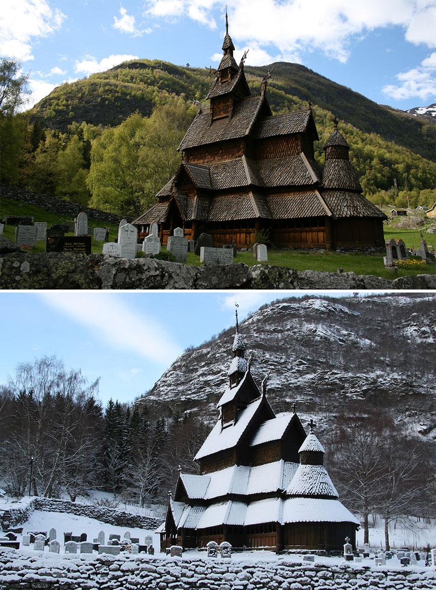 Боргундская церковь, город Лаэрдаль, Норвегия